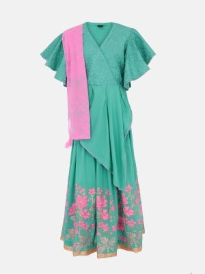 Turquoise Printed and Embroidered Linen Ghagra Choli