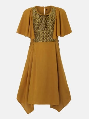 Mustard Embroidered Linen Frock