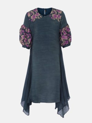 Teal Printed Mixed Cotton Frock