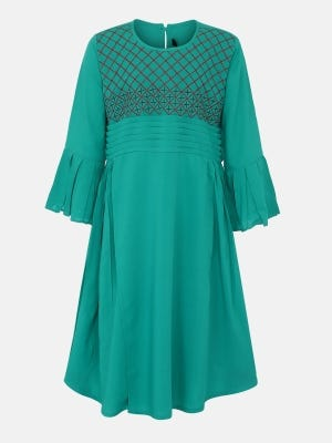 Turquoise Embroidered Linen Frock