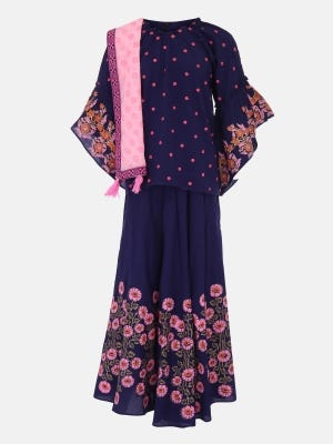 Navy Blue Printed and Embroidered Linen Ghagra Choli Set