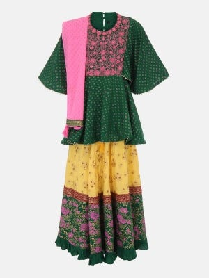 Green Printed and Embroidered Linen Ghagra Choli Set