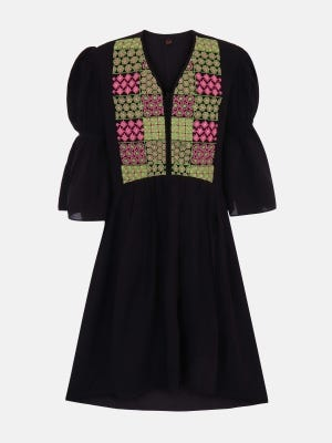 Black Embroidered Linen frock