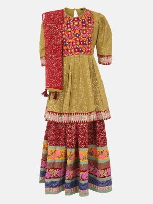 Olive Printed and Embroidered Linen Ghagra Choli