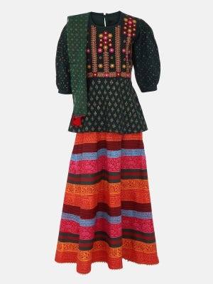Bottle Green Printed and Embroidered Linen Ghagra Choli Set