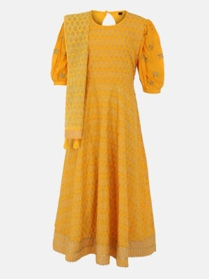 Yellow Printed and Embroidered Linen Long Gown