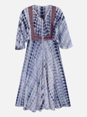 White Embroidered and Tie-Dyed Linen Frock