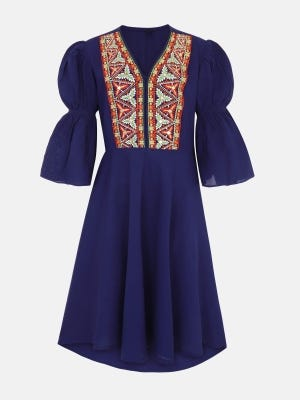Blue Embroidered Linen frock