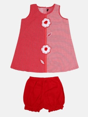 Red Printed and Embroidered Cotton Frock