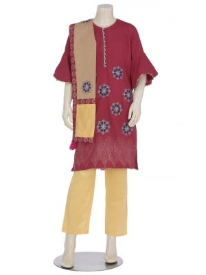 Maroon Printed and Embroidered Mixed Cotton Shalwar Kameez Set