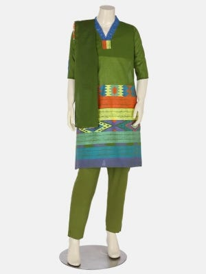 Green Printed and Painted Voile Shalwar Kameez Set
