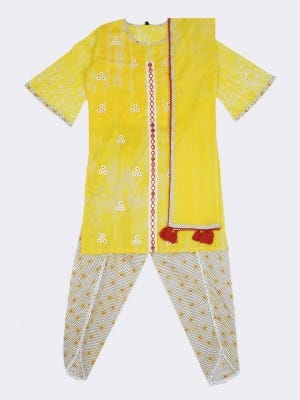 Yellow Tie-Dyed and Embroidered Cotton Shalwar Kameez Set