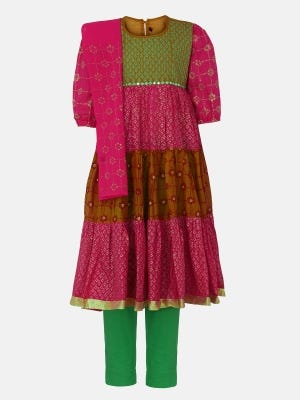 Fuchsia Printed and Embroidered Voile Shalwar Kameez Set