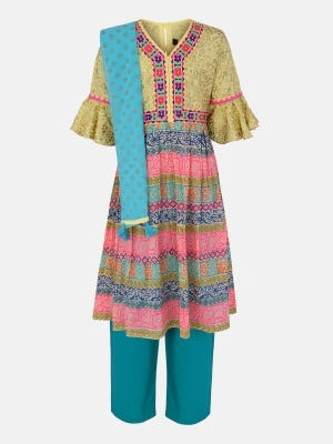 Light Yellow Printed and Embroidered Voile-Cotton Shalwar Kameez Set