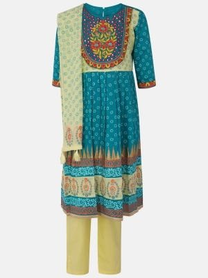 Yellow Printed and Embroidered Cotton Kameez Set