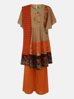 Brown Printed and Embroidered Linen Kameez Set