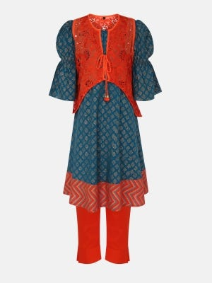 Teal Printed and Embroidered  Linen Shalwar Kameez Set with Coaty