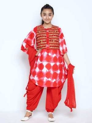 Strawberry Red Printed and Embroidered Linen Shalwar Kameez Coaty Set