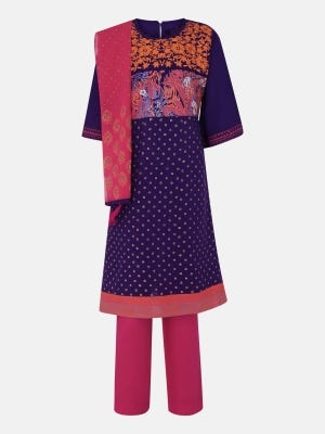 Purple Printed and Embroidered Linen Kameez Set