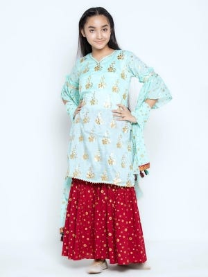 Turquoise Printed and Embroidered Mixed Cotton Shalwar Kameez Set