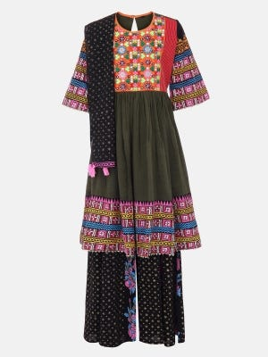 Olive Green Printed and Embroidered Mixed Cotton Shalwar Kameez Set