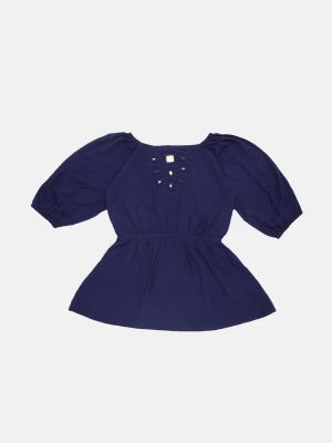 Midnight Blue Linen Top
