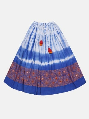 Blue Tie-Dyed and Printed Linen Skirt
