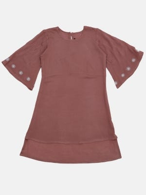 Mauve Embroidered Mixed Cotton Top