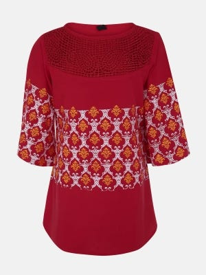 Red Printed and Embroidered Linen Top