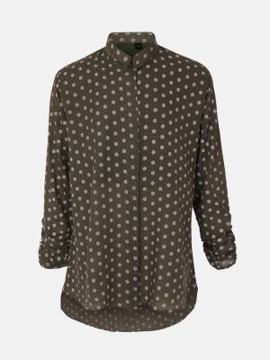 Olive Printed Mixed Cotton Top