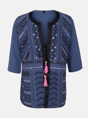 Steel Blue Embroidered Linen Top