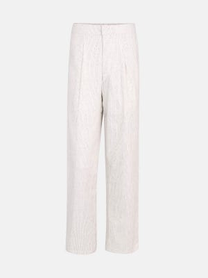 White Printed Cotton Trousers