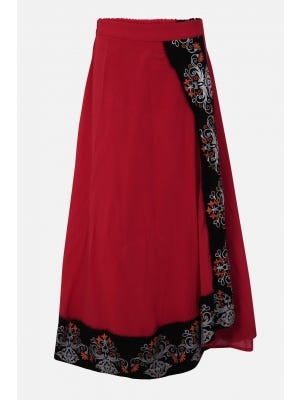 Red Printed Mixed Cotton Skirt