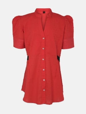 Red Embroidered Linen Top