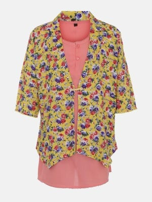 Peach Printed Linen Top with Coaty
