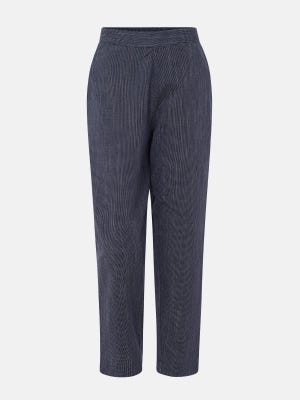 Blue Textured Cotton Pants
