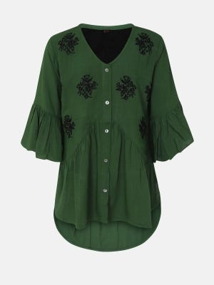 Green Embroidered Mixed Cotton Top