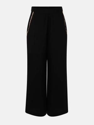 Black Embroidered Cotton Pants