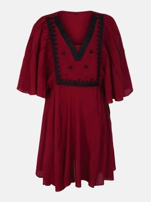 Maroon Embroidered Linen Top