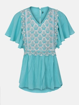 Pastel Blue Embroidered Linen Top