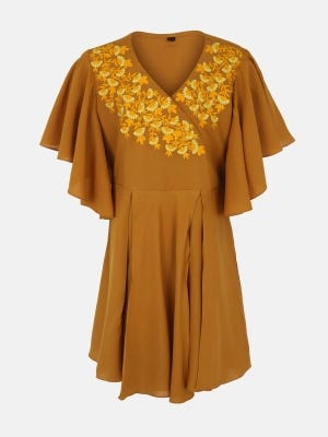 Yellow Ochre Embroidered Linen Top