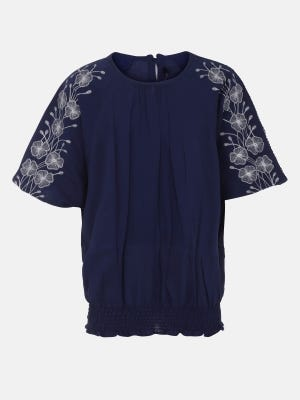 Midnight Blue Embroidered Cotton Top