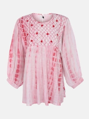 Light Pink Tie-Dyed and Embroidered Linen Top