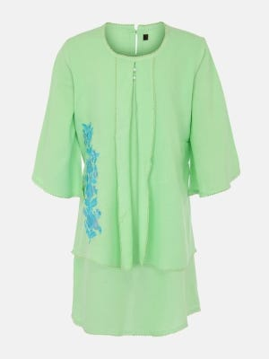 Lime Green Embroidered Cotton Top