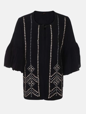 Black Embroidered Mixed Cotton Top