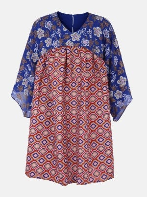 Blue Printed Mixed Cotton Top