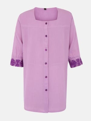 Light Purple Embroidered Mixed Cotton Top