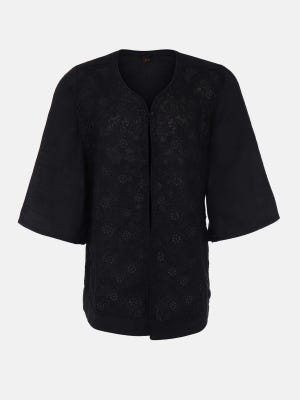 Black Embroidered Mixed Cotton Coaty
