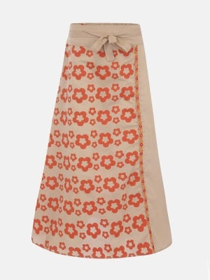 Beige Printed and Embroidered Cotton Skirt