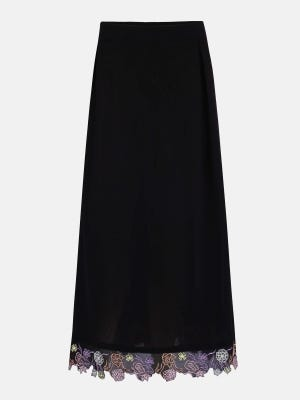 Black Embroidered Mixed Cotton Skirt